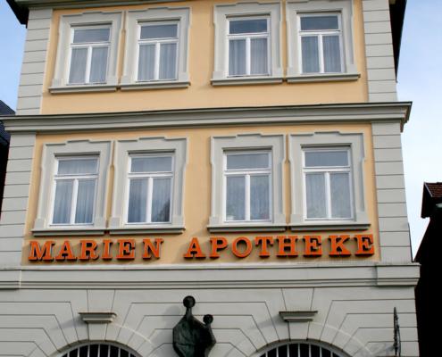 Denkmalschutz, Marienapotheke Ellwangen, Fassadengestaltung, historische Fassade