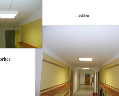 Akustikdecke, Schallschutz, Trockenbau, Vorher - Nachher, Kindergarten