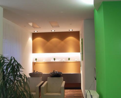 Farbgestaltung, Frisörsalon, Wohlfühlfarben, Innenputz